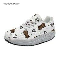Twoheartsgirl Slimming Swing Shoes for Women Cartoon Groot Prints Shake Platform Shoes Ladies Breathable Increasing Toning Shoes