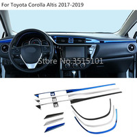 car cover detector trims stainless steel car Middle console control dashboard panel 3pcs For Toyota Corolla Altis 2017 2018 2019