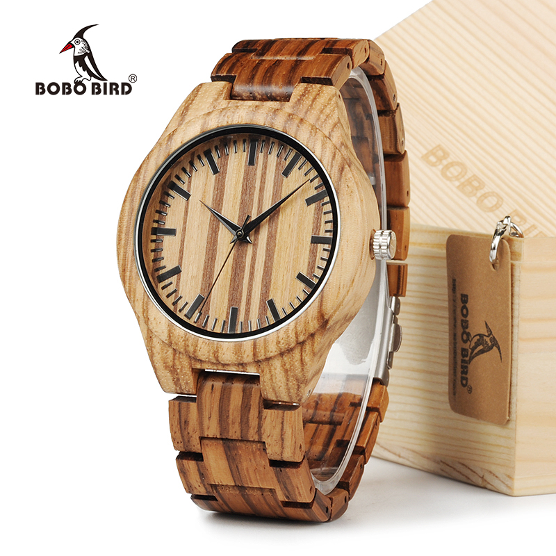 BOBO BIRD All Zebra Wood Men's Quartz Watch Analog Japan Movement 2035 Casual Wooden Band Wood Watches as gifts for Men bobo bird l b08 bamboo wooden watches for men women casual wood dial face 2035 quartz watch silicone strap extra band as gift