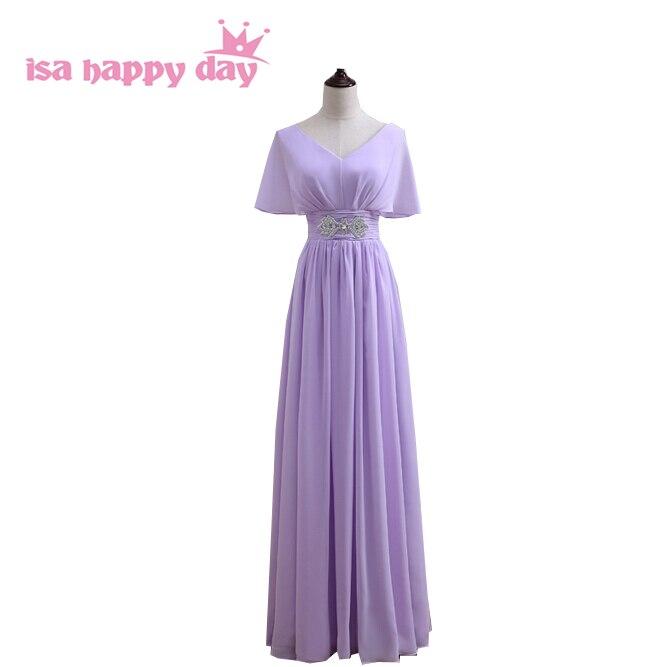 New Arrival Bridal Lilac Gown Floor Chiffon Modest Bridesmaid Dress Brides Maid Long Bridesmaids Dresses Cap Sleeve 2019 B3547