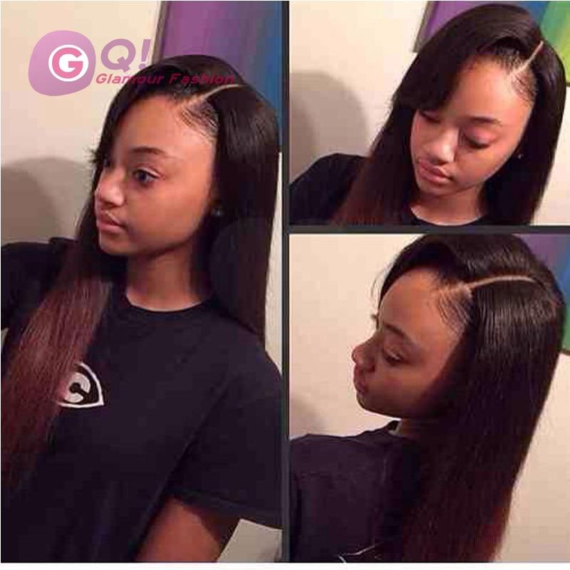Gq Side Part Silky Straight U Part Human Hair Wigs 100 Peruvian