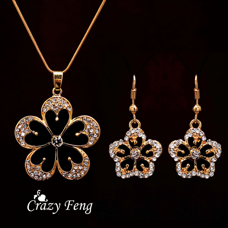 Free shipping crystal flower pendant necklace earrings trendy party free shipping crystal flower pendant necklace earrings trendy party jewelry sets gold color jewelry sets women new design in jewelry sets from jewelry aloadofball Images