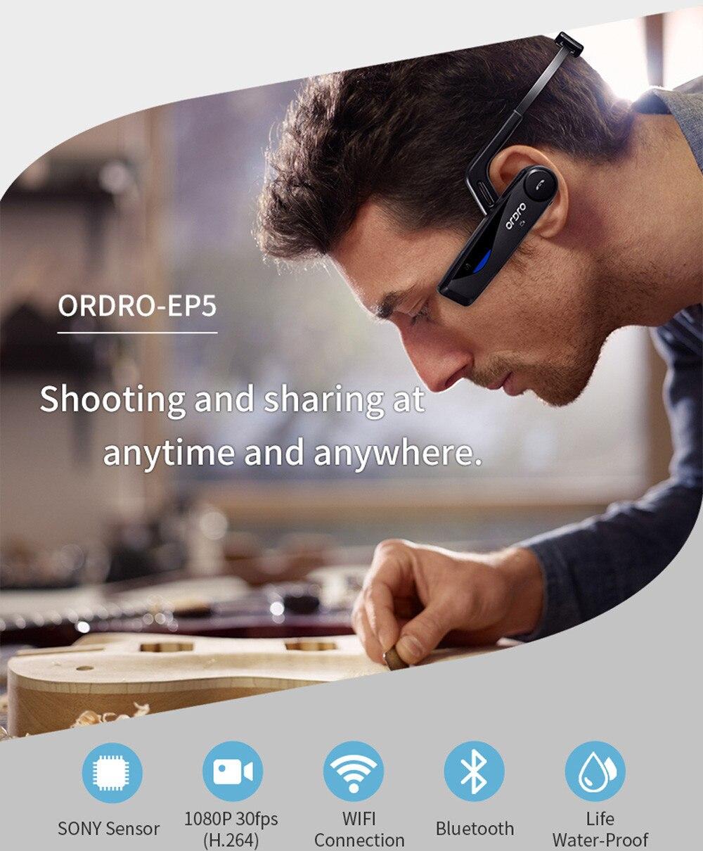 Perspective à la première Personne appareil photo numérique ORDRO EP5 Tête D'action caméscope dv FHD 1080 P Vidéo Bluetooth Appel WIFI APP Caméra BAY24