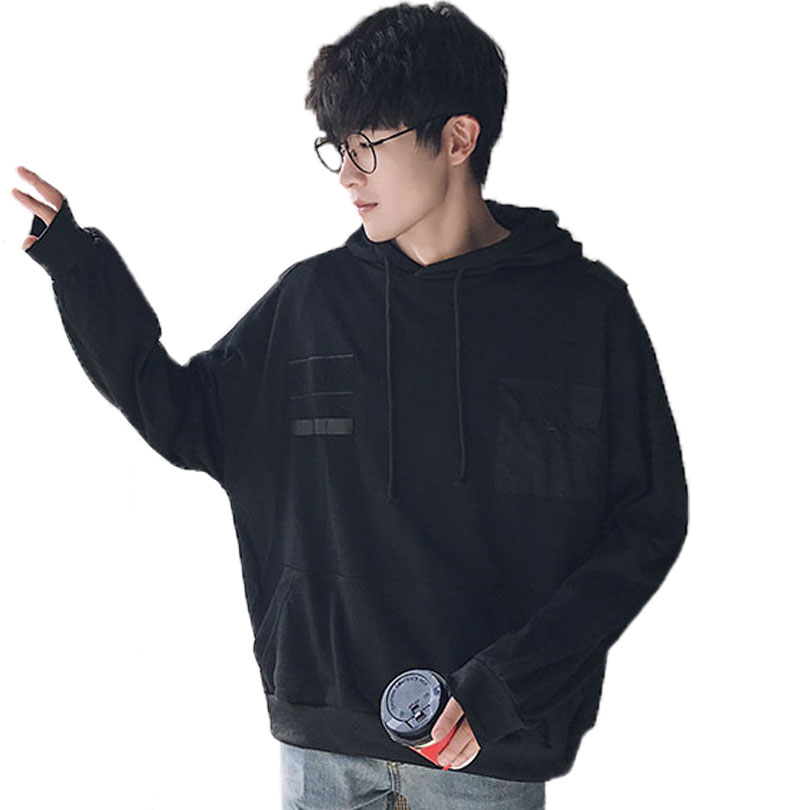 New 2017 High Street Harajuku Fashion Ribbon Hooded Pullover Korean Trend Loose Students Hoodies Hip Hop Long Sweatshirt Men