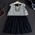 Girl dress 2017 summer new children's clothing girls striped style lotus leaf Chiffon dress vest,  perspective back