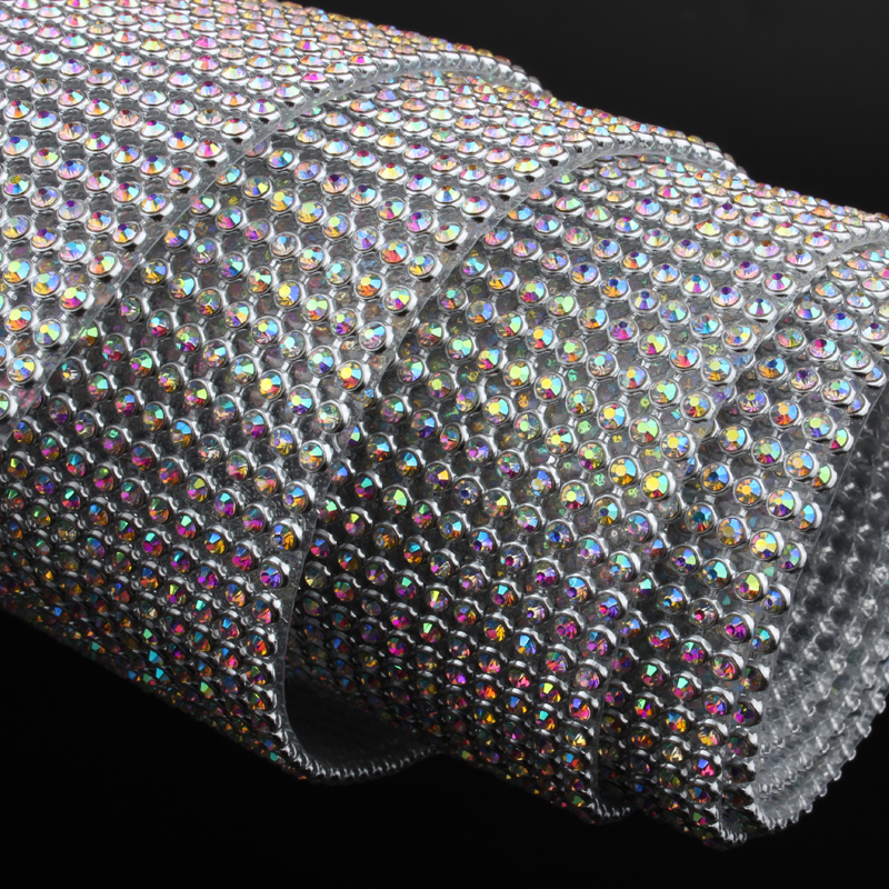 24Rows/36Rows/48rows Rhinestone Mesh Aluminum Silver Base SS8 CrystalAB With Glue For Garment Bags Free Shipping