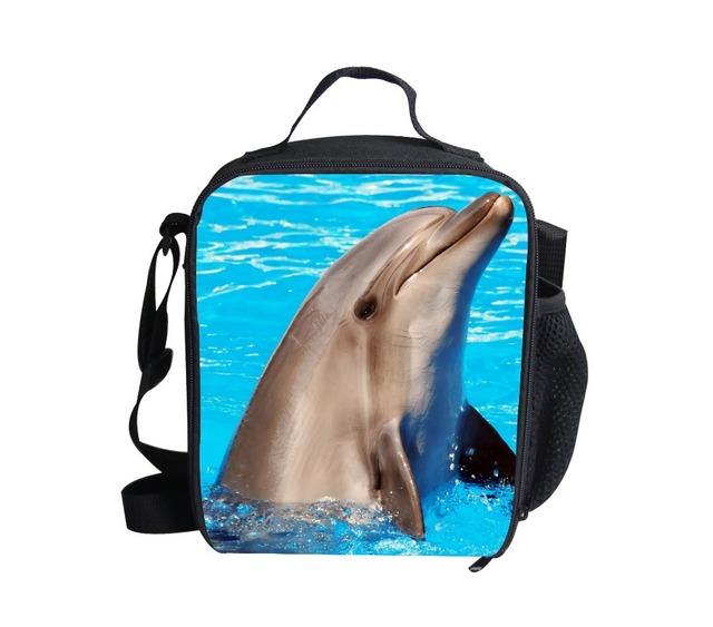 FORUDESIGNS crianças lancheira animais presentes dos miúdos sacos de ombro, golfinhos bonitos lancheira, impressão 3d crianças Lancheiras Isolados