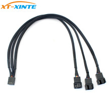 XT-XINTE 4Pin PWM 1 to 3 Ways Cooler Fan Power Extension Cable Y Splitter Cord Multiplier Computer PC Chassis Cooling 22AWG 30cm
