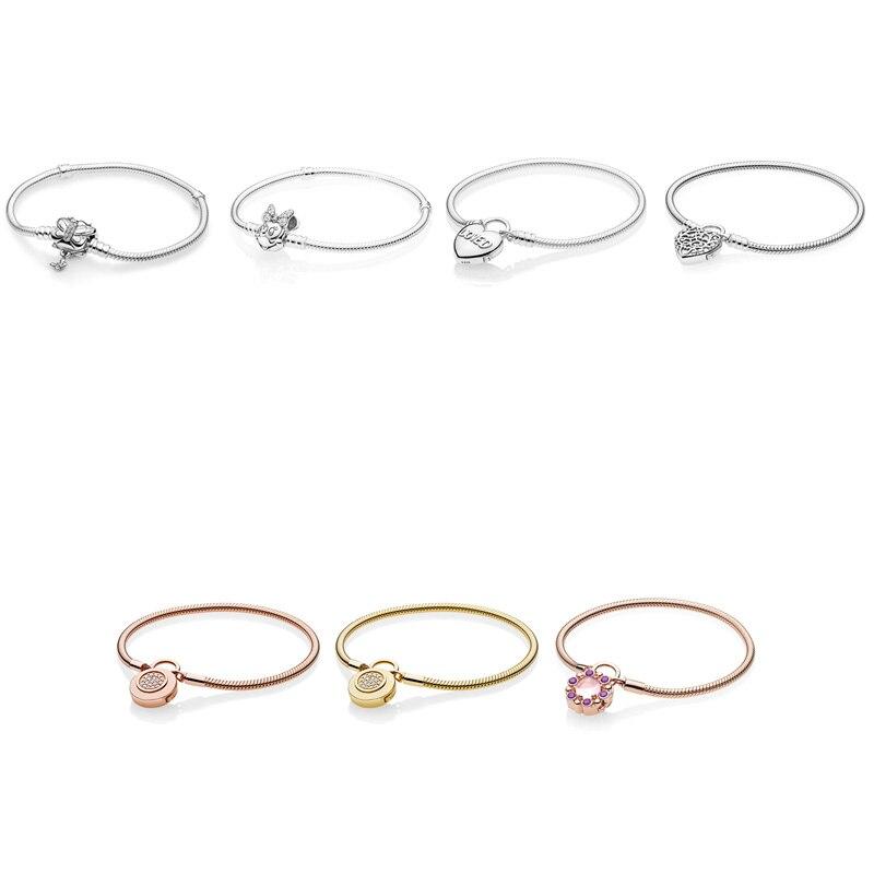 7 Style 925 argent Sterling Bracelets breloques papillon souris coeur boucle Bracelets pour femme ajustement bricolage perles breloque