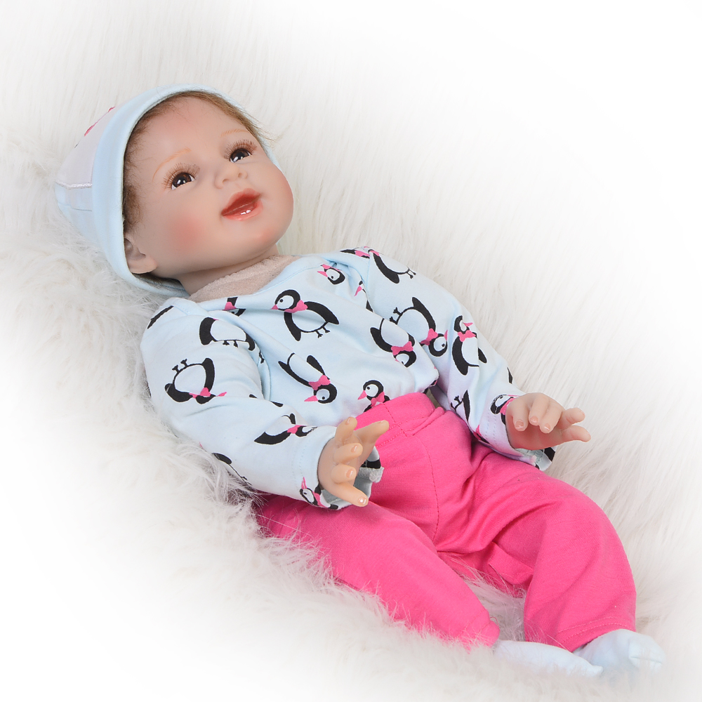 Hot Sale 22 Lifelike Silicone Vinyl Reborn Baby Doll Fashion Babies Toys Newborn Dolls Soft Cloth Body For Kids Birthday Gift