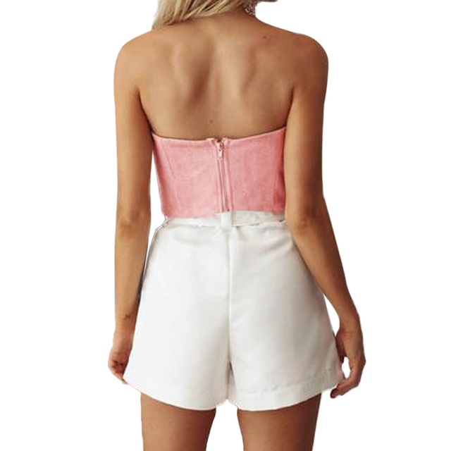 90a1e2d45a7 Women Suede Cropped Top Bow Front Slash Neck Sleeveless Back Zipper Crop  Tube Tops Pink Grey Crop Top