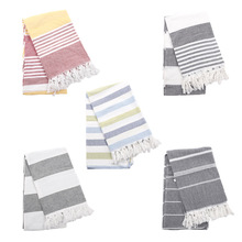 Turkish Bath Towel with Tassel Soft Terry Cloth Oversized Striped Adult Beach Extra Large Sheet Scarf Absorbent