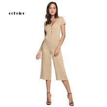 Echoine Women Fashion Jumpsuit Button Pocket Sexy V-Neck Short Sleeve Playsuits Long Wide Leg Pants Casual Loose Rompers Outfits simple plunging neck pocket design wide leg jumpsuit