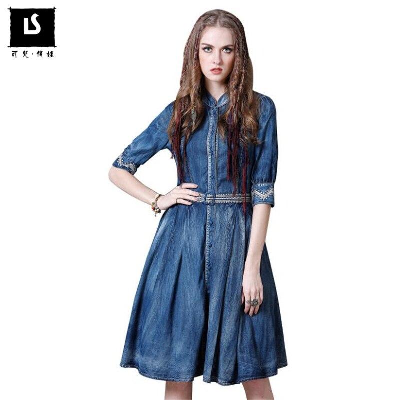 Bleu Printemps Femmes Moitié Ceinture Manches Mode Denim Dame Robes Automne Broderie Vintage Mince De Taille Élégante Robe Casual dTq4q0zwv
