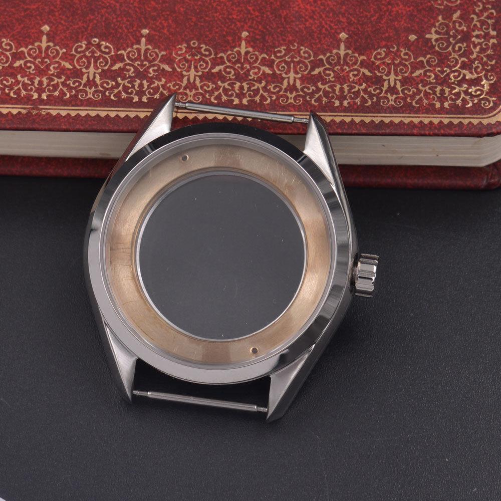 41mm Silver Steel Watch Case Fit ETA 2836,Mingzhu/DG 2813/3804,Miyota 8205/8215