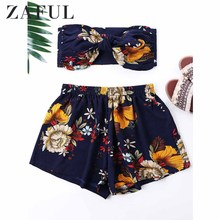 3c9b22822fb ZAFUL Women Set Flower Printed Mini Tube Top And Shorts Two Piece Sets  Summer Strapless Bowknot