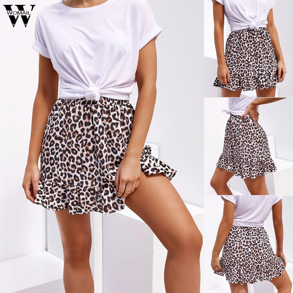Womail Skirt Women Summer Leopard Print Midi Skirt Casual Midder Elastic Waist Bandage Daily NEW Fashion 2019  A11