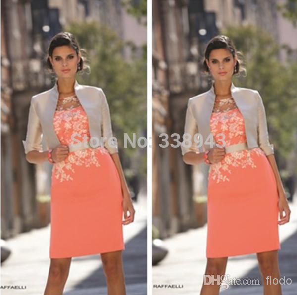 2017 scoop con la chaqueta madre de la novia viste la envoltura orange satén de encaje corto vestidos para ocasiones especiales vestidos de la madre