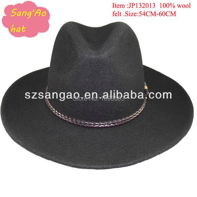 1c4bf8a474b7a wholesale black stetson wool fedora hat man with leather strap brim 6cm-8cm