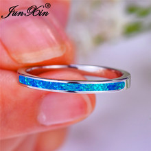 JUNXIN укладки Синий Белый огненный опал кольца для мужчин женщин минималистическое свадебное тонкое кольцо 925 серебряного цвета обручальное кольцо ювелирные изделия