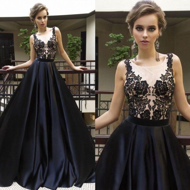 Robes de bal noires robes de mariée sangle une ligne élégante Appliques o-cou Illusion sans manches fête porter formel
