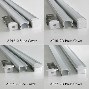 20m (20pcs) a lot, 1m per piece anodized aluminum profile extrusion for led bar light Slide press clear or milky diffuse cover