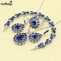 XUTAAYI Azul Safira Sintética Top Flores 925 Conjuntos de Jóias de Prata Para as mulheres Bonito Colar/Anéis/Brincos/Pulseira Dom gratuito
