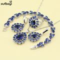 XUTAAYI Blue Synthetic Sapphire Top Flowers 925 Silver Jewelry Sets For women Pretty Necklace/Rings/Earrings/Bracelet Free Gift