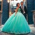 Fotos reais vestido de Baile de Hortelã Vestidos Quinceanera 2017 Querida Organza com Crystal Vestido de Ano Novo vestidos de 15 años