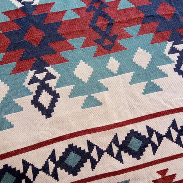 Kilim Blanket – Geometric Patterns – Blue