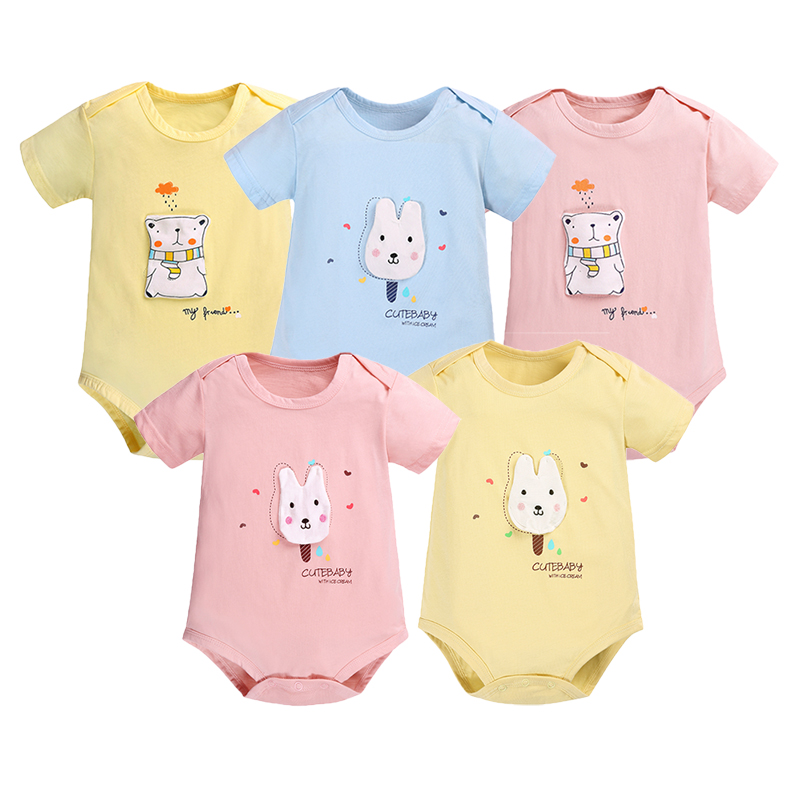 Baby Clothes Short Sleeve Bodysuits 5pcs/lot Summer Body Bebes Girls Boys Clothing Set Cotton Cartoon Overalls Jumpsuits