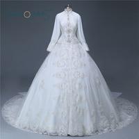 Real Sample Long Sleeve Islamic Appliqued Wedding Dresses High Collar Crystal Heavy Beading Arabic Muslim Bridal Dresses ASAW05