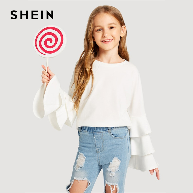 SHEIN White Solid Layered Long Sleeve Elegant Kids T Shirt Girls Tops 2019 Spring Fashion Preppy Children Girls Shirts Tee basik kids long sleeve t shirt white
