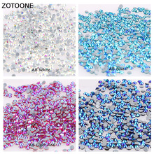 ZOTOONE 1440pcs SS6 SS8 SS10 SS16 SS20 Glue Strass Hotfix Rhinestones for Clothes AB Glass Crystals Nails Sew on Garment Bag