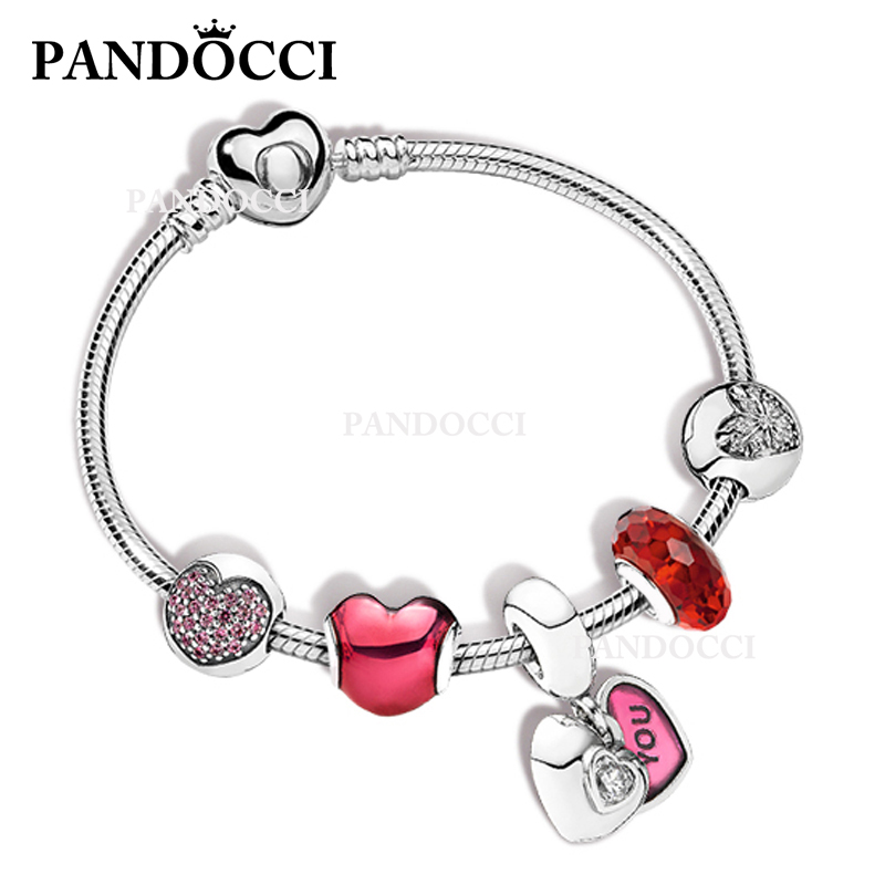PANDOCCI 100% 925 Sterling Silver Hearts and Hearts ZT0186 Strings Bracelet Set Lucky Good looking Fashion Womens JewelryPANDOCCI 100% 925 Sterling Silver Hearts and Hearts ZT0186 Strings Bracelet Set Lucky Good looking Fashion Womens Jewelry