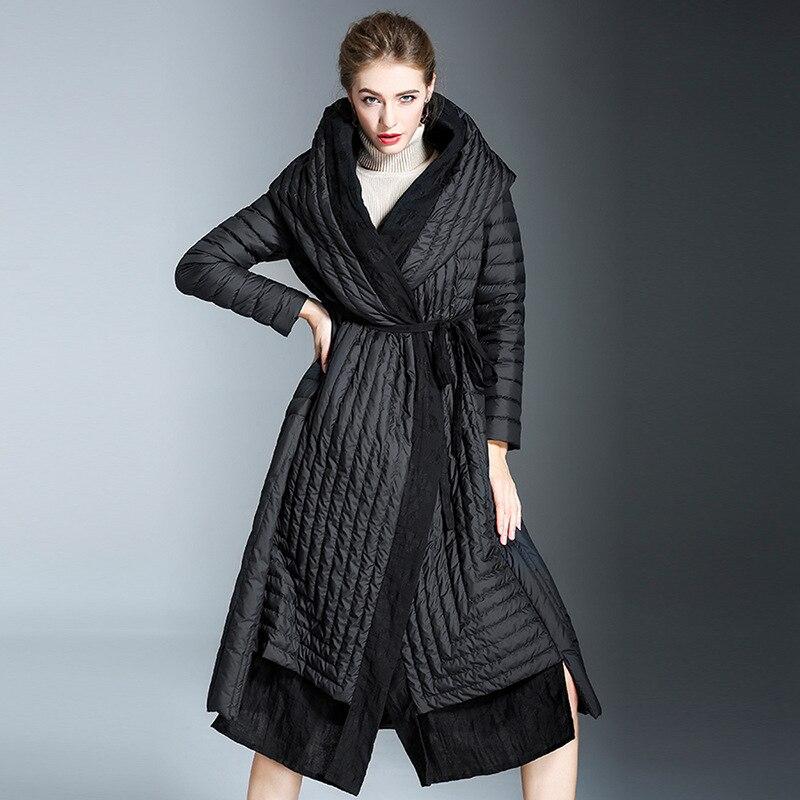 2018 модное пальто, Крутое пальто для женщин, черное пуховое пальто, Длинная женская куртка с регулируемой талией и поясом, тонкий большой раз