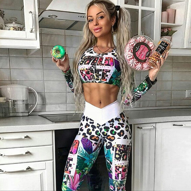 MisDream Digital Printed Letters Fitness Tracksuit Workout Women Two Pieces Sets Female Sporting Long Sleeve Crop Top Leggings
