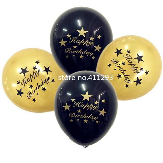 12pcs Lot Black Gold Happy Birthday Balloons With Golden Writting 12inch Latex Ballon Helium Quality