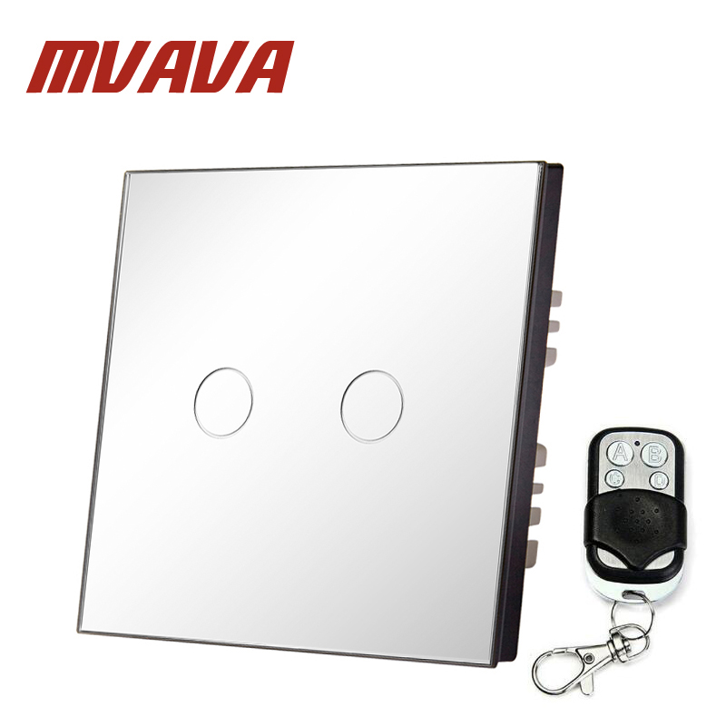 MVAVA EU Standard Remote Switch Crystal Glass Panel 2 Gang 1 Way EU Standard Wall Light Remote Touch Switch+LED Indicator smart home us au wall touch switch white crystal glass panel 1 gang 1 way power light wall touch switch used for led waterproof
