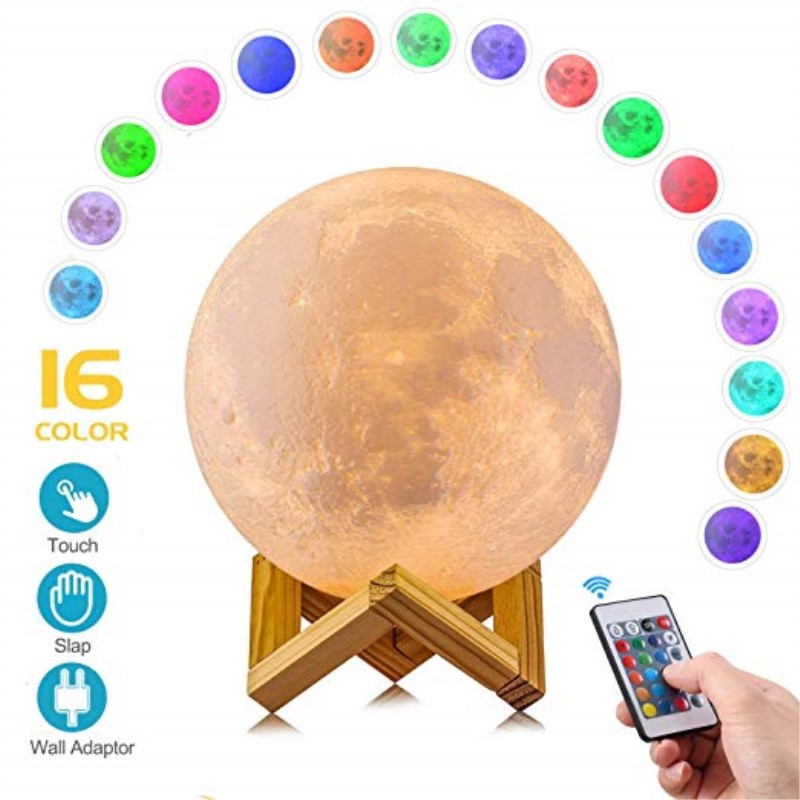 Moon Lamp,  16 Colors LED 3D Print Moon Light with Stand & Remote&Touch Control and USB Rechargeable, Moon Light Lamps for Kids Lover Birthday Gifts