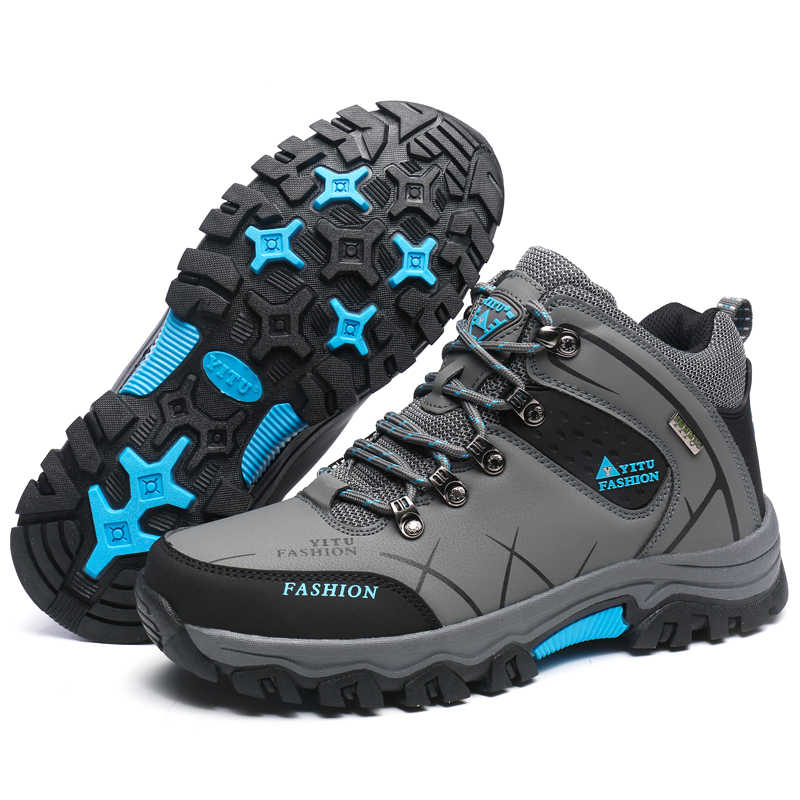 GOMNEAR أعلى جودة الشتاء الرجال الدافئة الصوف الحقيقي حذاء للسير مسافات طويلة في الهواء الطلق عدم الانزلاق الشتاء الإرتحال أحذية رياضية المشي أحذية رياضية