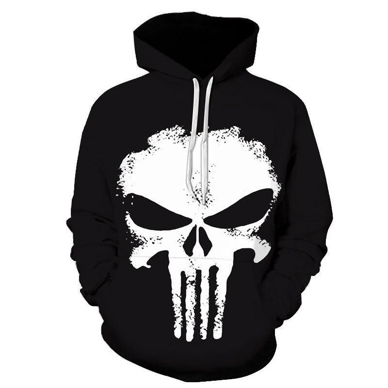 Sudadera con capucha de cráneo fantasma The Punisher para hombre, Sudadera con capucha negra de Frank Castle, Jersey fino con capucha, sudadera informal