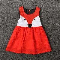 Moda animal print roupa dos miúdos bebê menina traje padrão de raposa crianças vestidos para meninas do bebê primeiro aniversário