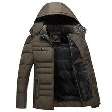 L-XXXXL Cotton Padded Coat Hooded Solid Parka Plus Thick Velvet Cotton Plus Size Men's Padded Winter Jacket Men J516