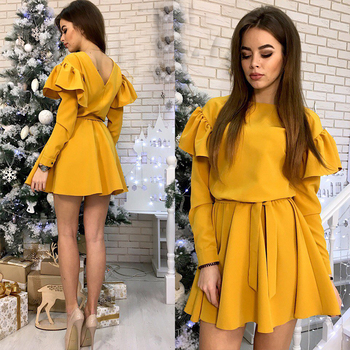 Women Sashes Ruffled a Line Party Dress Ladies Long Sleeve O Neck Elegant Dress 2019 Female autumn Solid Mini Dress 4