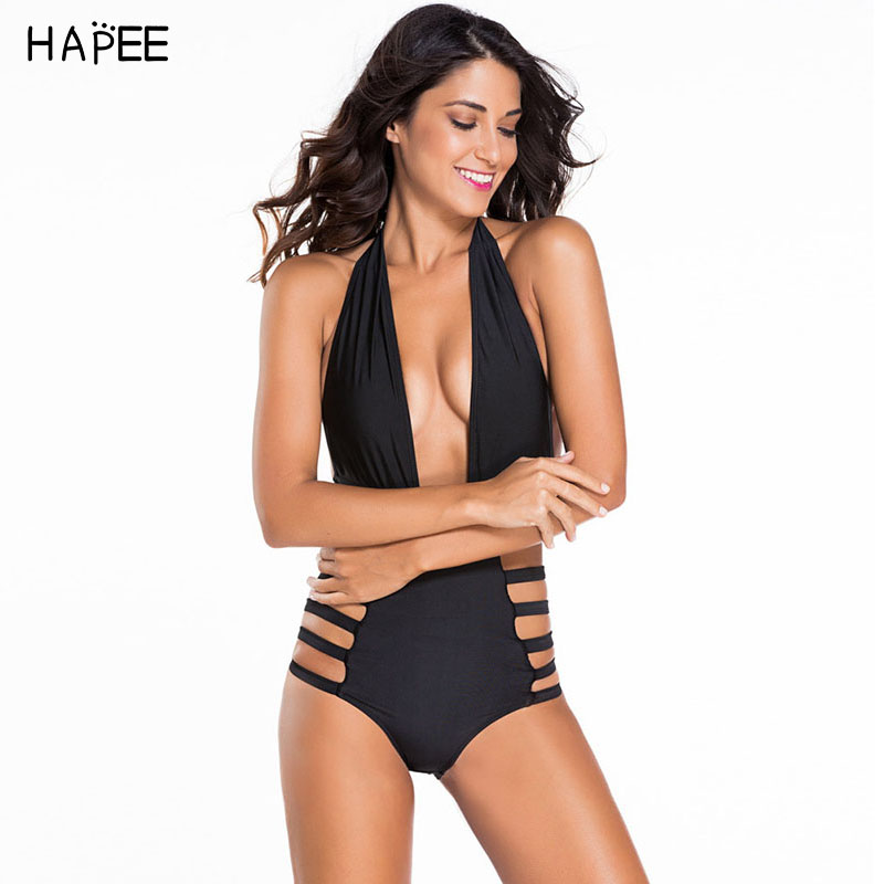 2017 Secy Halter Top Hollow out One Piece Swimwuit Women saida de praia One Piece Swimwe ...