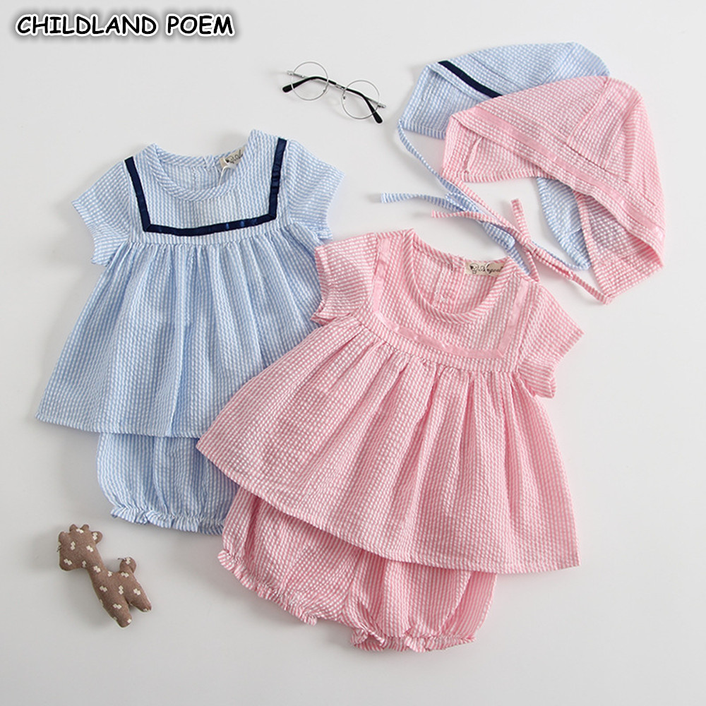 Baby Girls Clothes Set Summer Infant Baby Clothing Sets For Girls Stripe Dress + Shorts + Hats 3pcs Cotton Newborn Baby Outfits