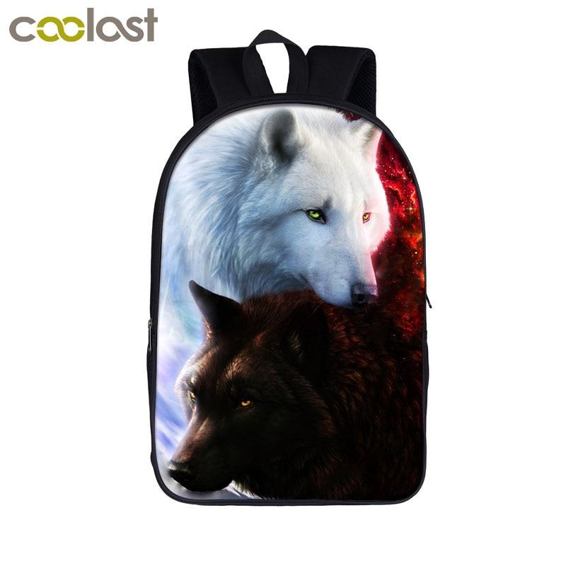 Wolf Cat Backpack School Bags For Boys Girls Lion Dragon Bag Children School Bags Cartoon Teen Mochila Travel Students Book Bag