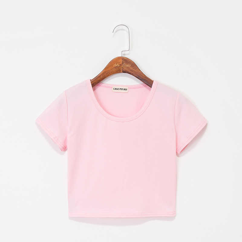 夏の女性の綿の tシャツ半袖ラウンドネック tシャツハイウエストスリム tシャツ女性 camiseta mujer
