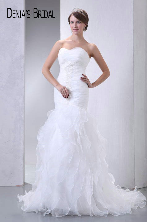 Actual Images Sweetheart Ruffles Mermaid Wedding Dresses Pleats Floor-Length Chapel Train Long Bridal Gowns